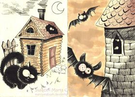 Cats and bats by Marcysiabush