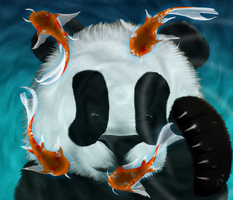 Baby Panda Playing with Koi by Hazey1988