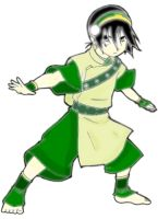 Toph Bei Fong Lineart Colored by beegee12