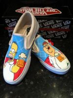 Family Guy Simpsons Homer and Peter Vans by VeryBadThing