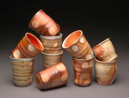 Wood Fired Tumblers with Shino Liner Glaze by MBrownCeramics