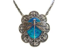 Dragonfly Fairy Pool Handmade Opal Necklace by HoneyCatJewelry