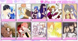 My top 10 Fairy Tail couples by SweetLotos