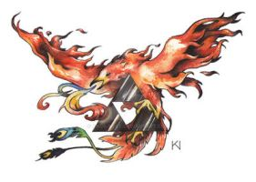 Phoenix with Triforce tattoo design by Kaos-Nest