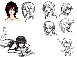 Rwby faces doodles 01 by Razenix-Angel