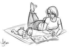 Wife and Boy Reading by kuabci