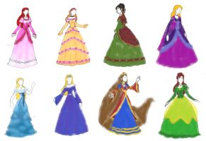 Princess Gowns colored by Valor1387