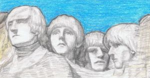 1965 Beatles on Mt Rushmore by gagambo