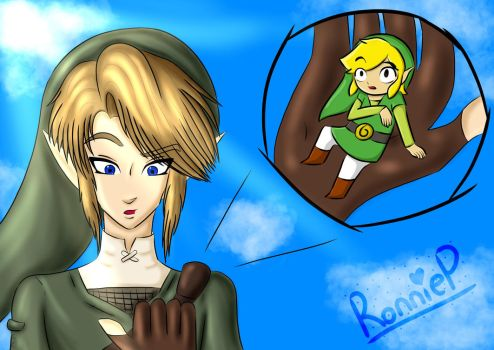 Giant Link and Tiny Toon Link by OrangeSoulDarcy