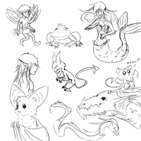 Fairy Tales Sketchdump by SilverSoulArtist