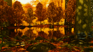 Autum Forest Pond WIP 4 by Shroomworks