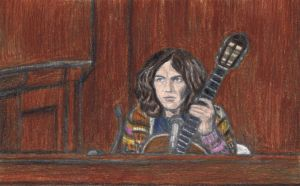George Harrison in court with his guitar by gagambo