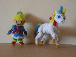 Rainbow Brite and her horse by fuzzyfigureguy