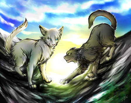 Warriors: Gray Wing And Clear Sky by Marshcold