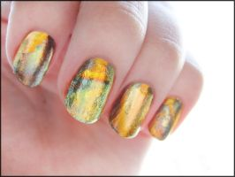 Variegated Black Leaf Manicure by Alchemical