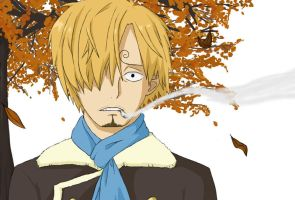Sanji- Falling Autumn Leaves by KuraVix