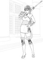 Lineart Widowmaker year of rooster skin by Daeshagoddess