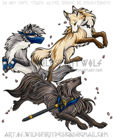 Anime Wolves - Cherry Blossom Frolic by WildSpiritWolf
