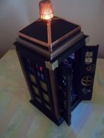 Steampunk Tardis night light by urkelbot666