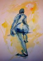 Blue Bottom Girl by LaurieLefebvre