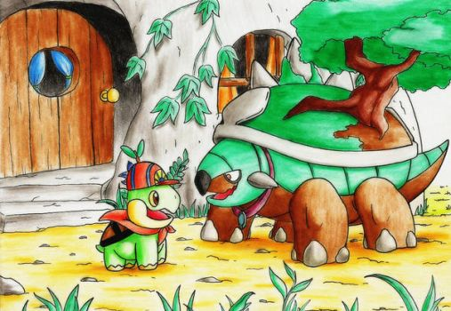 * (COMMISSION) Franklin the Turtwig and her mother by GTS257-CT