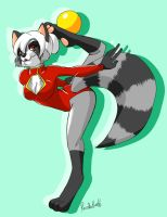 Rhythmic gymnastics raccoon by Pandablubb