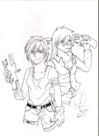 Girls with Guns - RD and AJ Comission (Lineart) by Jujubesca