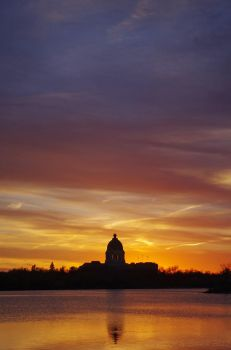 Land of the Living Skies - Legislature at Sunset by bulloney