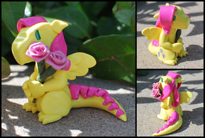 Fluttershy clay dragon by HowManyDragons