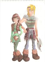 Hallie and Asgard AKA Hiccup and Astrid Genderswap by Artlesa