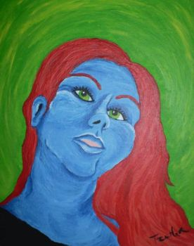 red and blue selfportrait by Tzerha
