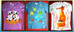 Hand-painted T-shirts: Cows, Alien Painter, Fox by Arferia