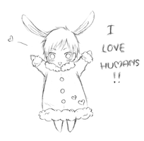 Izaya Bunny - I LOVE HUMANS by Chibi-Kiki-chan