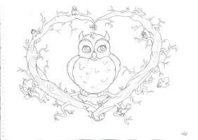 Owl T-Shirt Design - Line Drawing by Groovy-Gecko