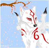 Amaterasu and some blossoms. by furbyprince