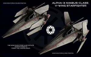 Alpha-3 Nimbus-class V-wing starfighter ortho 2 by unusualsuspex
