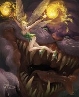 Tinkerbell vs Cheshire Cat by Nightblue-art