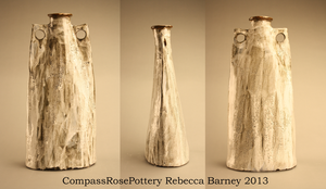 Tall Visual Textured Vase by CompassRosePottery