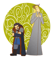 Thorin and Thranduil by Morgaer