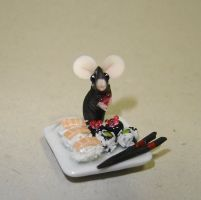 Mouse and sushi by Fairiesworkshop