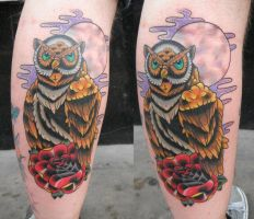Owl and rose tattoo by DaneTattoo