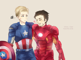 Mr. Stark and Mr. Rogers by Fiveonthe