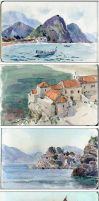 plein air watercolor sketches by art-bat