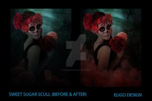Sweet Sugar Scull (before/after) by EligoDesign