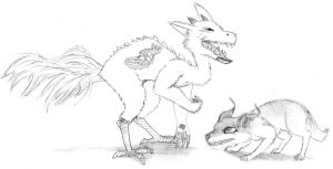 Fox and Creature by DrawingTessa