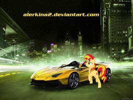 Sunset Shimmer and her Lamborghini Aventador J by alerkina2