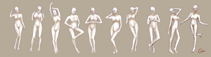 Female poses/study sketches by OrnellaArts