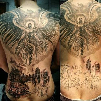 angel/apocalypse backpiece tattoo in progress by Ashmodeii