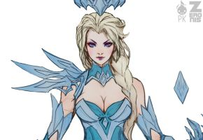 Elsa Dark Ice Queen pt.1 Cropped WIP by ZeroNis