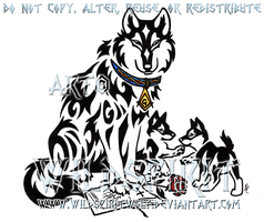 Tribal Father Wolf And Pups by WildSpiritWolf